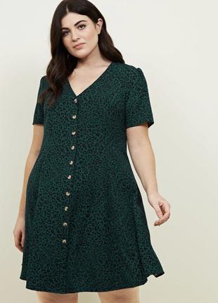 Изумрудное платье на пуговицах new look curves большой размер ...