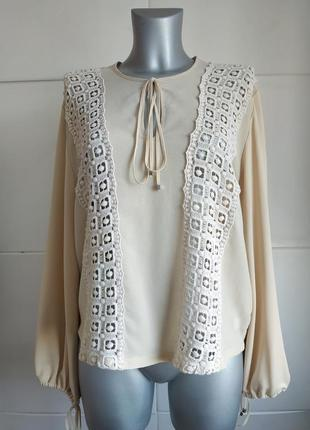Изумительная блуза zara кремового цвета с кружевом.