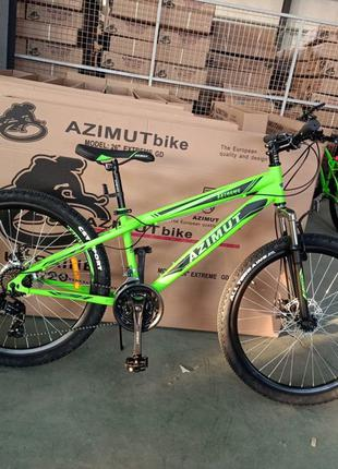 Спортивный велосипед 26 дюйма Azimut Extreme рама 14 салатовый