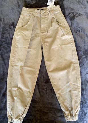 Бежеві джинси, трендові широкі джинси, джинсы.