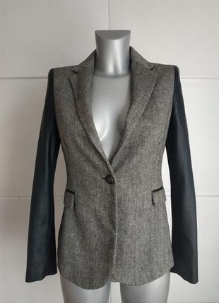 Стильный пиджак zara с вставками из искусственной кожи