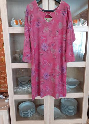 Натуральное платье туника большого размера