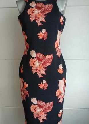 Стильное платье h&m с принтом крупных цветов и молнией на спинке