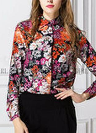 Блузка женская / рубашка с цветами на черном фоне s