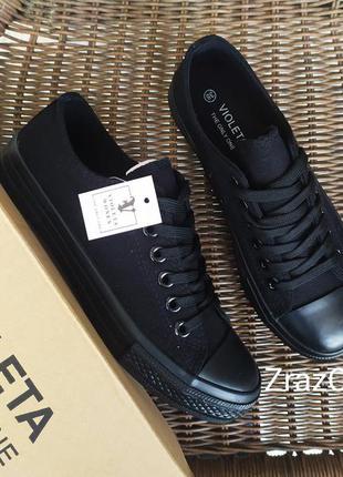 Черные кроссовки кеды конверсы мокасины слипоны с резиновым но...
