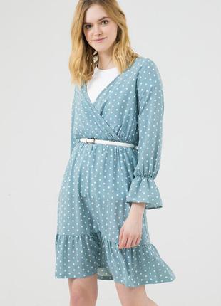 Платье season ментолового цвета в горошек