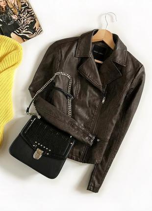 Идеальная базовая кожаная куртка-косуха new look (кожанка)