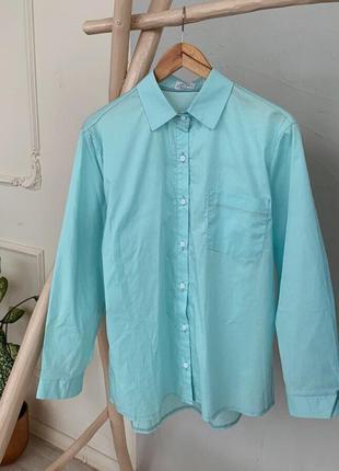 Голубая рубашка хлопок