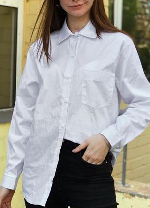 Базовая белая рубашка хлопок