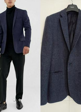 Универсальный базовый шерстяной мужской пиджака topman темно-с...