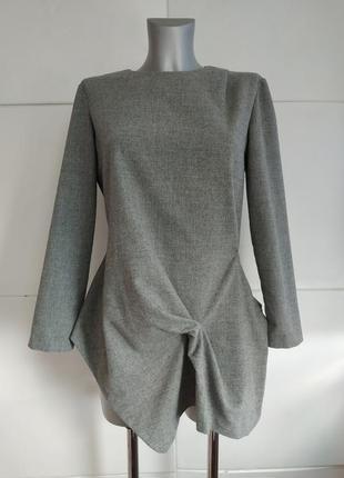 Стильная блуза, топ  zara серого цвета оригинального кроя