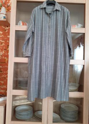 Котоновое платье рубашка большого размера