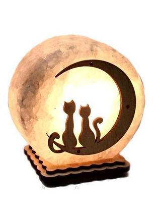 """Соляная лампа """"Коты на луне"""""""