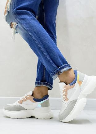 Модные многоцветные кроссовки белые білі жіночі кросівки