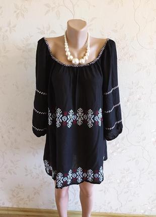 Красивая блуза вышитая большого размера, 54-56