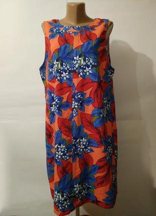 Платье натурально льняное яркое в цветы большой размер marks&s...
