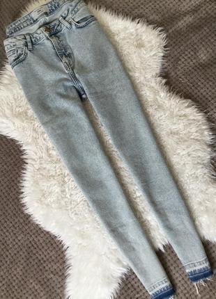 Джинсы скини с необработанным низом new look размер 12