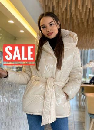 Скидка ! теплая дутая куртка пуховик с поясом