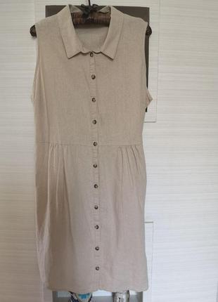 Льняное платье рубашка  миди с карманами