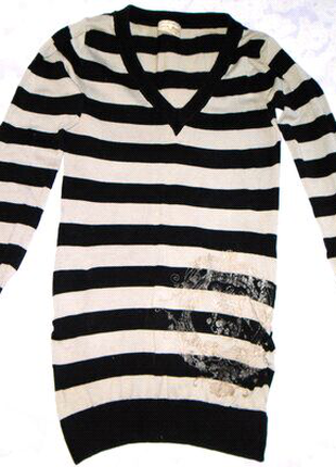 Полосатая удлиненная кофта,свитер,туника,платье с V-воротником