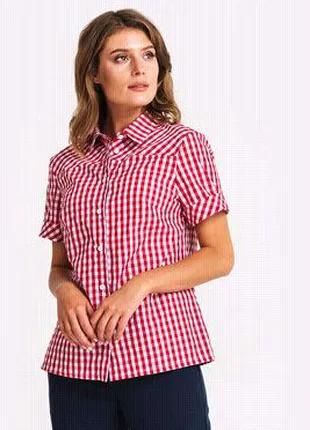 Розовая, клетчатая, хлопковая блуза, блузка, рубашка