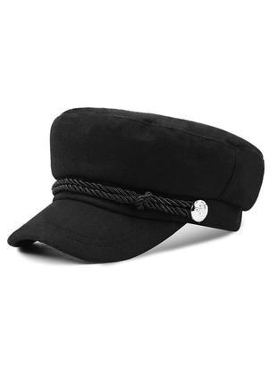 Женский картуз кепи фуражка черный с канаткой шерстяной
