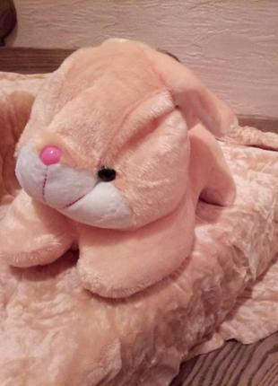 Детский комплект подушка и плед. подушка-игрушка зайка