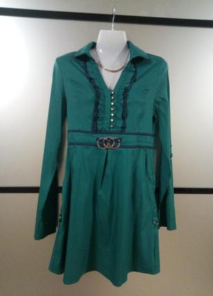Распродажа! стильная удлинённая рубашка/туника изумрудного цвета.