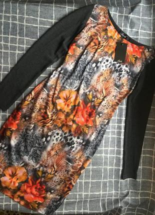Распродажа! трикотажное платье с ярким цветочным принтом. ново...