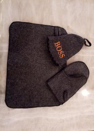 Распродажа!подарок набор для бани.шапка,перчатка и коврик.унисекс