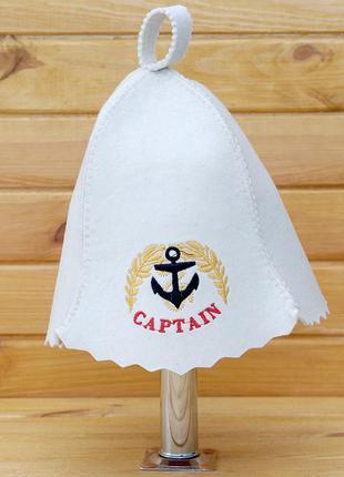 """Шапка для бани/сауны из войлока """"капитан"""". есть цвета и принты..."""