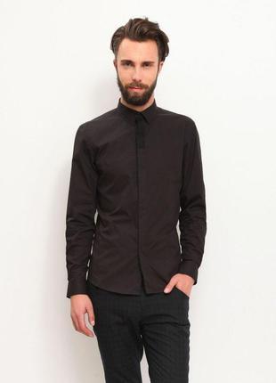 Мужская чёрная приталенная рубашка.черная рубашка. новая с бир...