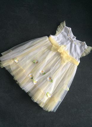Невероятное нежное лёгкое детское платье в цветы 12- 18 месяцев.