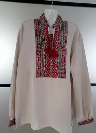 Мужская рубашка вышиванка 54 размер. вышитая рубашка мужская