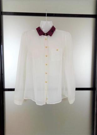 Полупрозрачная блуза с бордовым воротником. хс-с. блуза с борд...