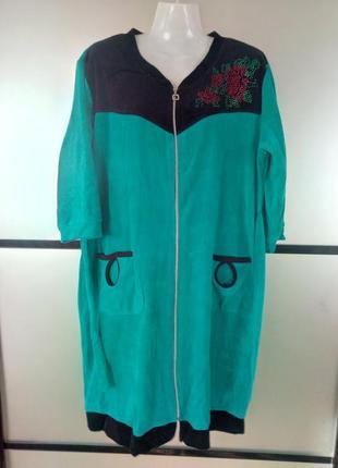Велюровый халат женский с поясом на молнии. есть размеры и цвета