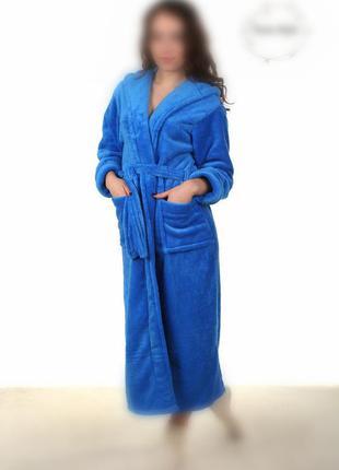 Синий махровый женский халат с капюшоном. есть цвета и размеры
