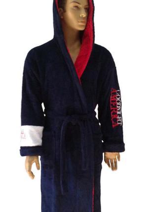 Мужской махровый тёмно-синий халат. есть цвета и размеры