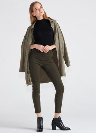 Акция 2=3. зауженые брюки хаки. штаны цвета хаки завышенная та...