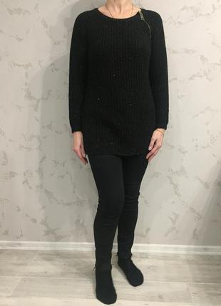 Акция 2=3.вязаный свитер чёрный в цветную нитку. свитер удлинё...