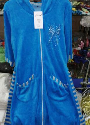 Женский велюровый халат,в наличии расцветки и размеры