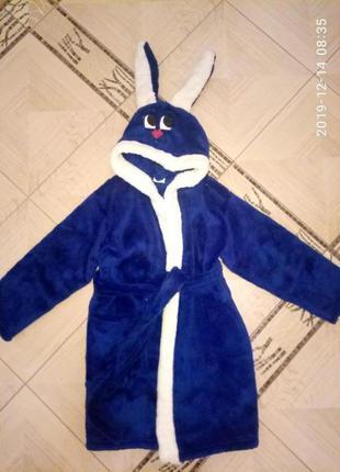 Детский махровый халат зайчик с капюшоном для мальчика. есть р...
