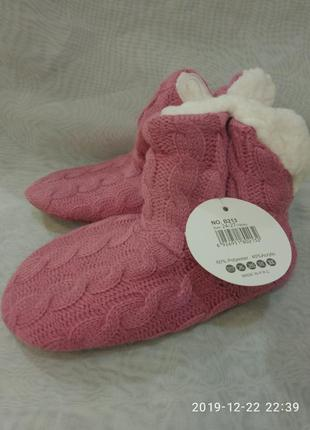 Детские розовые домашние тапочки-сапожки,в наличии цвета. 24-3...