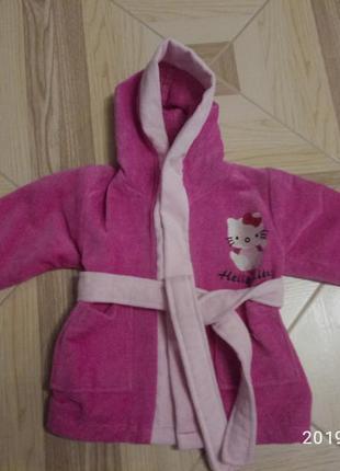 Котоновый халат с капюшоном для самых маленьких. детский махро...