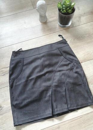 Короткая юбка карандаш. серая классическая юбка 46(м-л).возмож...