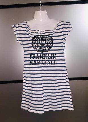 Хлопковое полосатое платье туника в морском стиле.xs-m