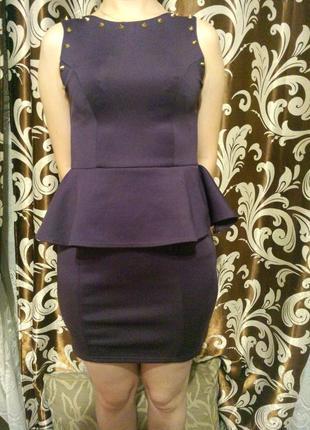 Плаття платье сукня с баской и с шипами missguided