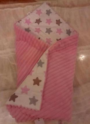 Детское одеяло плед конверт. одеялко для ребенка плюш и котон....