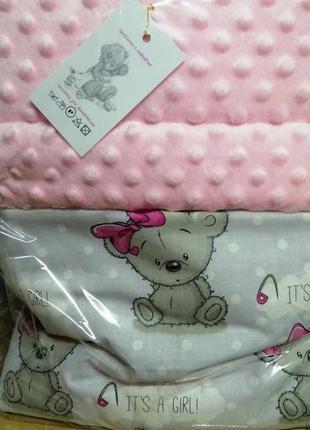 Детское двухсторонее плед одеялко. плюшевое одеяло десткое кот...