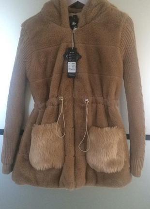 Трендовая тёплая шубка цвета кемел camel. шуба куртка из искус...
